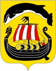 Sandefjord komm.svg City Logo, Crests, Coat Of Arms, Vikings, Norway, Whale, Medieval, Genealogy, Flags
