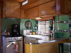 '50 Westcraft Camper  ......This is a dream retro-camper kitchen. My jadeite glass tile would be the perfect addition!