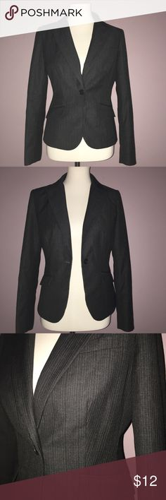 """New York & Company Blazer Size 4 Excellent condition, two front faux pockets and one faux chest pocket. Lightly padded on the shoulders. Black with white and pale gold pinstripe. Bottom of collar to bottom of jacket 22"""", sleeve is 24"""". New York & Company Jackets & Coats Blazers"""