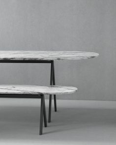 Saw Series table and bench in marble by Friends & Founders