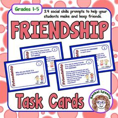 FREE Friendship Task Cards - great for back to school or any time your students need to be nicer to one another