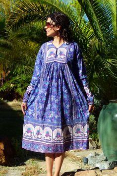 Vtg 80s India boho hippie ethnic cotton blue floral peacock block print gypsy festival tent midi dress S/M/L