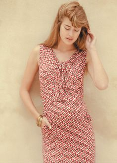 Bow Dress in Raspberry Fishes - fab designer maternity dress