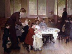 """""""Nursery School"""". Henri Jules Jean Geoffroy (1853-1924), French painter."""