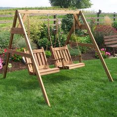 A&L Furniture Co. Traditional English Cedar Stand With Two Swing Chairs - 401Cx2, 815C