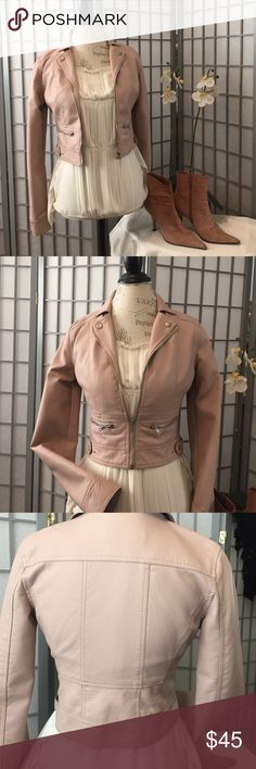 🌺Super Cute Moto Jacket🌺  In time for Fall🍃🍂 Dusty rose Vegan Leather Moto jacket. This is brand new with tag attached. A must have Fall 🍂item that goes with the everything! Charlotte Russe Jackets & Coats Utility Jackets
