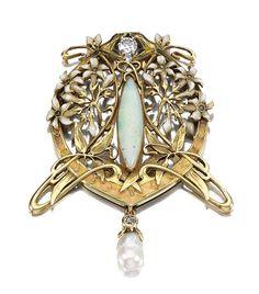 Art Nouveau ENAMEL, OPAL, PEARL AND DIAMOND BROOCH, LATE 19TH CENTURY. | Sotheby's | JV