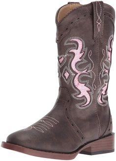 Roper Kids' Lexi Western Boot Western boot Flexible sole Non-marking outsole Square toe Laser cutout Amazon Dresses For Girls, Emu Boots, Jelly Shoes, Kids Sandals, Glitter Shoes, Kids Boots, Dress With Boots, Leather Material, Western Boots