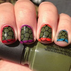 Teenage Mutant Ninja Turtle Shells Nail Art