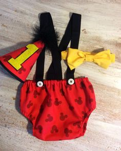 Boy Disney Mickey Mouse Cake Smash Birthday Outfit with Suspenders Bow Tie and Party Hat Baby Boys First Birthday by CuteAsClaire on Etsy https://www.etsy.com/listing/216286065/boy-disney-mickey-mouse-cake-smash