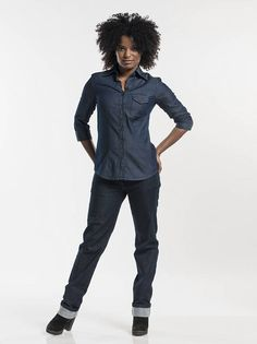 Chaud Devant Overhemd / Blouse Blue Denim Stretch (CHA619)