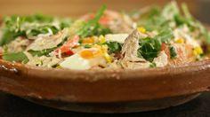 Eén - Dagelijkse kost - rijstsalade met gerookte makreel, avocado en cocktaildressing - zonder de makreel ook een heerlijke vegetarische salade!