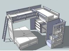 Loft Bed Plans. If I made it I would take away the bottom bed and maybe put a little sofa there!