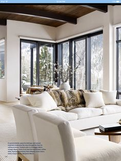 Possibility of window door combo for dining and great room. Love ceiling and floor color design Home Living Room, Interior Design Living Room, Living Room Designs, Living Room Decor, Living Spaces, Interior Livingroom, Aspen House, Style At Home, Home Fashion