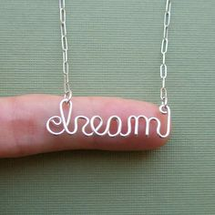 dream sterling silver wire word necklace by PianoBenchDesigns, $36.00