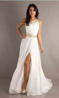 white prom dresses  (maybe a wedding dress?)