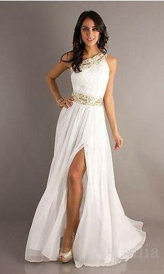 white prom dresses (maybe a wedding dress?)