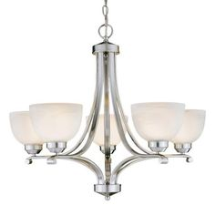 Paradox™ - 5 Lt Chandelier - 5 Light Chandelier in Brushed Nickel Finish w/Etched Marble Glass