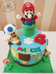 Cake on Cake Central Farm Birthday, Birthday Cakes, Birthday Ideas, Mario Bros Cake, Super Mario Party, Video Game Party, Cake Central, Sweet And Salty, Creative Cakes
