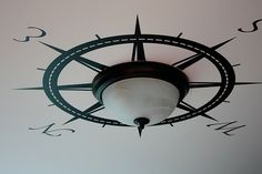 compass decal around light ...LOVE!