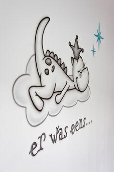 er was eens... Draakje Dirk! Babykamer muurschildering