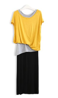 Short sleeve casual dress F101 Yellow