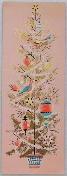 1596 50s Unused Volland Mid Century Pink Christmas Tree Vtg Christmas Card | eBay