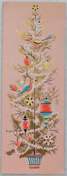 1596 50s Unused Volland Mid Century Pink Christmas Tree Vtg Christmas Card | eBay