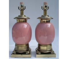 Vintage Pink and Gold Tyndale Lamps: Home Decorating Lamps Online Shop - Plaid Parasol
