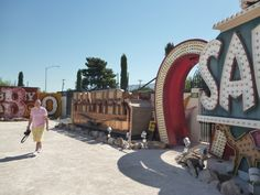 One of Binion's Horseshoes and the Frontier sign,  Inside the Neon Museum Boneyard, Vegas.