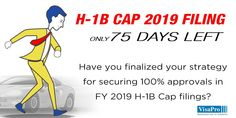 75 Day H1B Cap Red Alert: #H1B Cap filings increased 35% last year. The demand for #H1BVisa is going to be even greater this year. Building a successful #H1B Cap 2018 April filing strategy is essential to improve your chances of #H1BLottery selection and approvals. #h1bvisa #h1bcap #immigration #immigrationlawyer