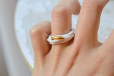 Ouargha. Ring in white and gold by Gouttedeterre - Etsy