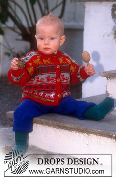 Cardigan in Camelia with dogs and rabbits. Trousers and socks in Baby-Ull ~ DROPS Design-Free pattern