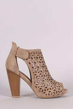 Perforated Slit Chunky Heel Booties – Style Lavish
