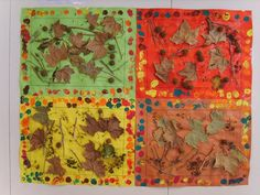 Fall leaves artworks - love the different colored background and the simple frame around the leaves.