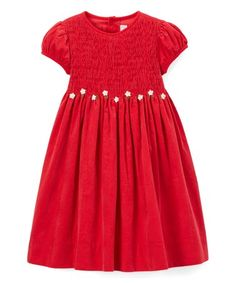 Love this Red Floral Smocked Dress - Toddler & Girls on #zulily! #zulilyfinds