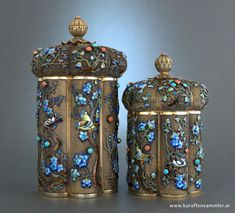 Chinese export silver gilt filigree tea caddies