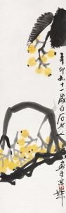 QI BAISHI Loquat Painted in 1951  ink and color on paper  hanging scroll  97×30 cm. (38 1/4×11 3/4 in.)  齊白石 枇杷 一九五一年作  設色紙本  立軸  約2.6平尺  款識:辛卯,九十一歲白石老人畫于京華。  「白石」