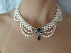 woven pearl necklace, by Marina J