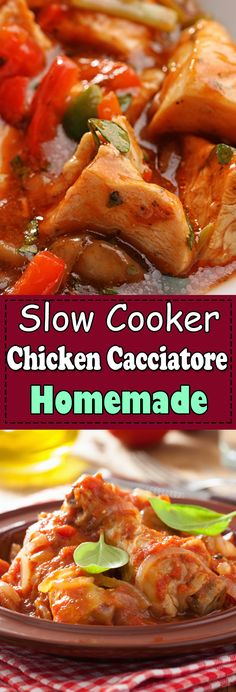 Chicken Cacciatore is an easy and delicious one-pot meal. This slow cooker Chicken Cacciatore is an Italian classic meal served over rice and a family friendly chicken recipe. #chickencacciatore #easychickencacciatore #crockpotchickencacciatore #slowcookerchickencacciatore #ovenchickencacciatore Chicken Breast Recipes Healthy, Chicken Thigh Recipes, Healthy Chicken Recipes, Crockpot Recipes, Yummy Recipes, Dessert Recipes, Dinner Recipes, Chicken Cacciatore Slow Cooker, Cacciatore Recipes