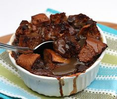 Chocolate Bread Pudding with Bourbon Butterscotch Sauce
