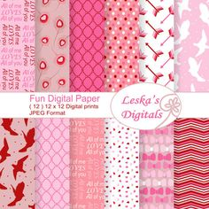 Valentine digital paper valentine digital paper by DigitalWork
