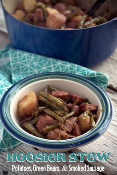 Nothing tastes like summer dinner quite like fresh green beans, red potatoes and smoked sausage that has simmered in caramelized onions. This recipe is so good. So easy. #5Ingredientsorless