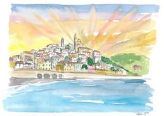 """Saatchi Art is pleased to offer the painting, """"Cervo Liguria Italian Village by The Sea,"""" by M Bleichner, available for purchase at $249 USD. Original Painting: Watercolor on Paper. Size is 7.9 H x 11.8 W x 0.4 in. Watercolor Sunset, Watercolor Paintings, Original Paintings For Sale, Original Artwork, Romantic Italy, Italian Village, Italy Painting, Impressionism Art, Color Pencil Art"""