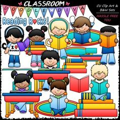 This 30 piece set comes with 15 colored clip art and 15 black and white images (black lines with a white fill) as shown in the thumbnail images. They are 300dpi in transparent PNG and non-transparent JPG formats. This set includes: 1 girl reading a book and wearing a t-shirt with wording of: I LOVE (heart) BOOKS (colored clip art and black and white image) 1 girl holding a stack of books (colored clip art and black and white image) 1 girl holding a book (colored clip art and black and white…