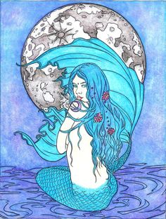 Moon Mermaid from Mermaid Coloring Book by Selina Fenech #colorselina