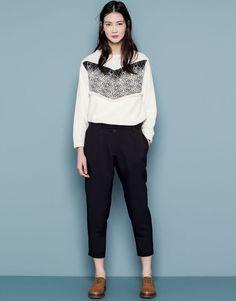 Pull&Bear - femme - sweat - sweat imprimé style ethnique bande centrale - écru - 05590335-V2015
