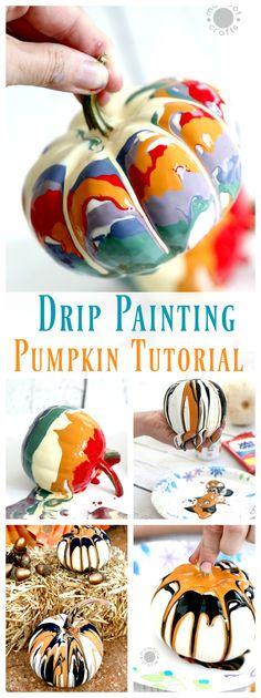 Drip Painting No Carve Pumpkin DIY for Halloween - Endless creativity and gorgeous! Pumpkin Faces, Pumpkin Art, Pumpkin Crafts, Fall Crafts, Pumpkin Carving, Pumpkin Ideas, Pumpkin Painting Party, Diy Crafts, Diy Halloween