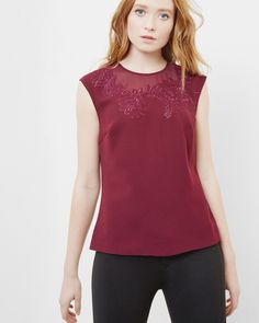Embroidered neckline top  - Oxblood | Tops and T-shirts | Ted Baker UK