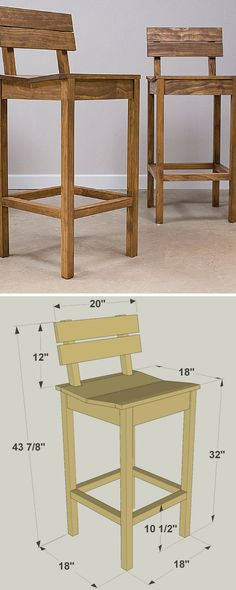These tall pub chairs look great, whether you have them sitting at a counter or pair them with a pub table (which we'll show you in another project plan). Plus, the chairs are comfortable thanks to the shaped seat and angled back. Neither of these great features makes the chairs difficult to build. FREE PLANS at www.buildsomething.com #woodworking